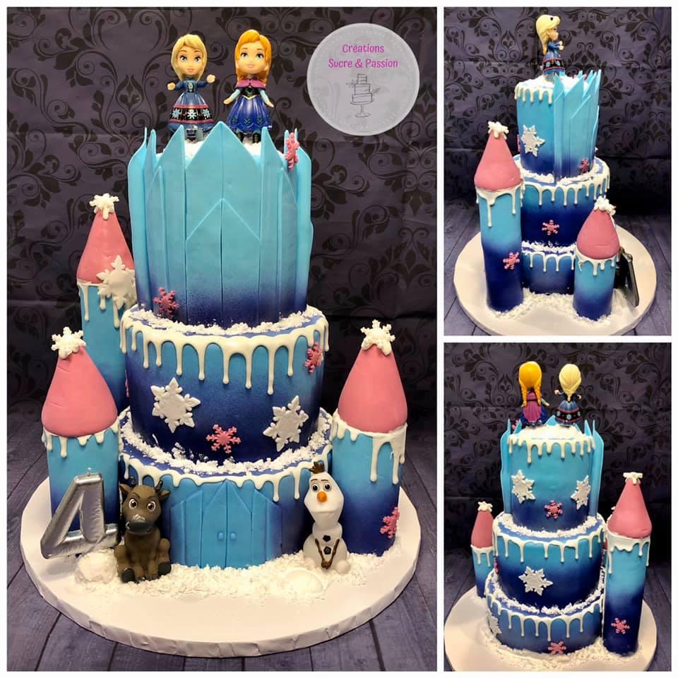 Gâteau de la Reine des Neiges (Frozen) de 3 étages.