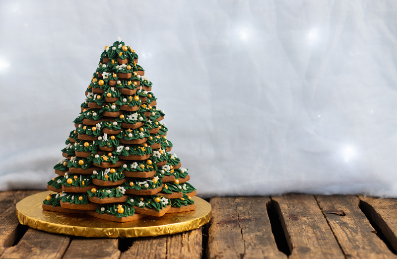 Sapin 3D en biscuits pain d'épices