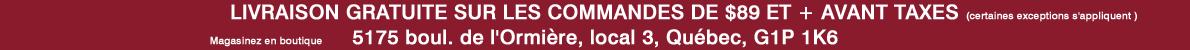 Livraison gratuite et adresse boutique